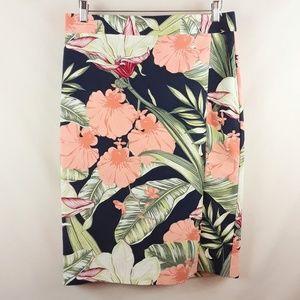 Ann Taylor Island Flower Print Pencil Skirt 12